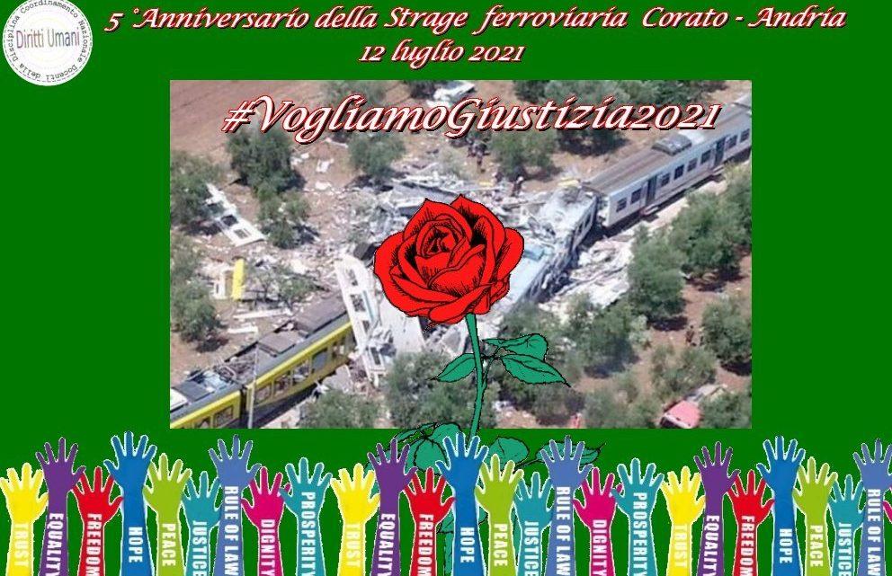 V anniversario del disastro ferroviario verificatosi nel tratto tra Andria e Corato il 12 luglio del 2016