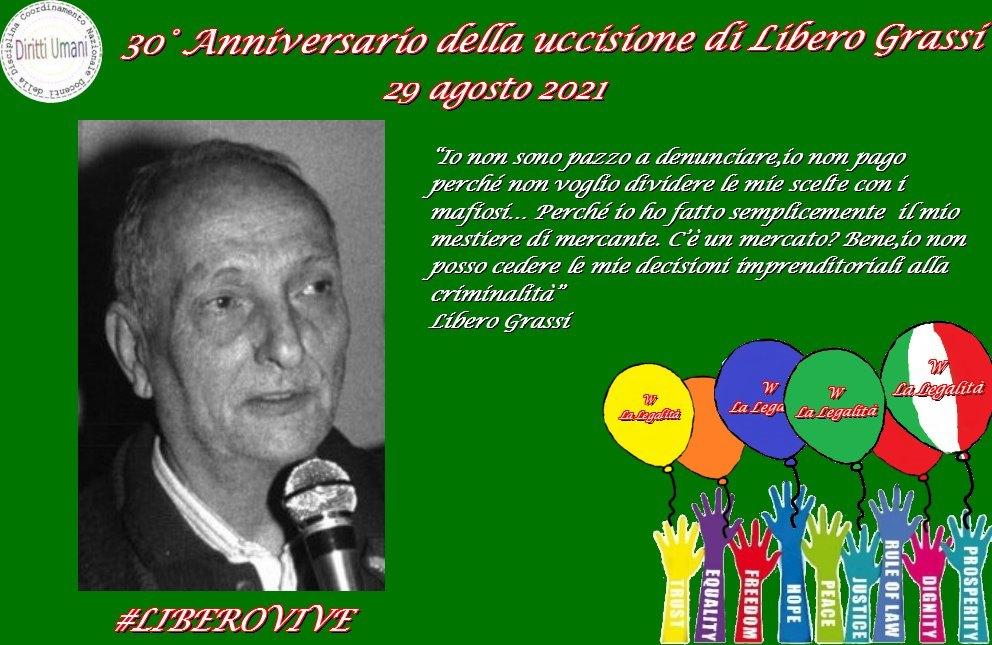 """Coordinamento Nazionale dei Docenti della Disciplina dei Diritti Umani: """"XXX Anniversario della morte dell'imprenditore siciliano Libero Grassi"""""""