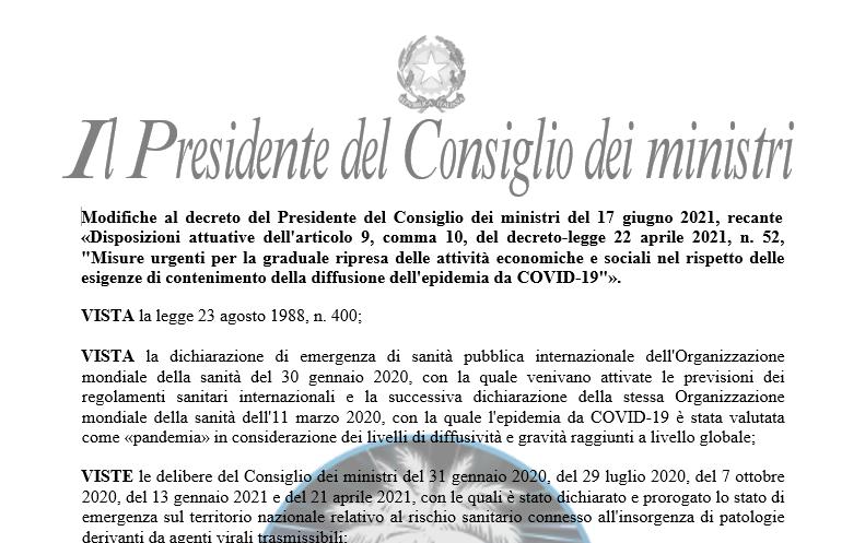 Modifiche al decreto del Presidente del Consiglio dei ministri del 17 giugno 2021, recante